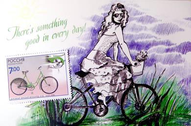 Комплект «Велосипед» (открытка+марка)