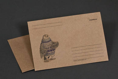 Крафт-конверт «Сова в свитере и с кружкой»
